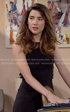 Steffy's black buckled dress on The Bold and the Beautiful