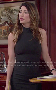 Steffy's black halter neck dress on The Bold and the Beautiful