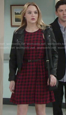 Summer's red checked dress on The Young and the Restless