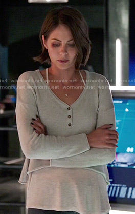 Thea's cropped henley top on Arrow