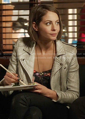Thea's silver moto jacket on Arrow