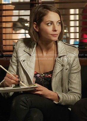 Thea's silver moto jacket on Arrow