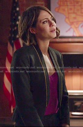 Thea's zip detail blazer on Arrow