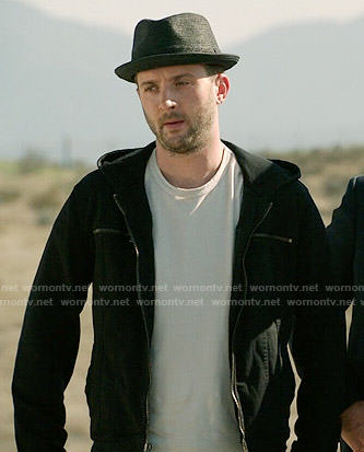 Toby's black hooded jacket on Scorpion