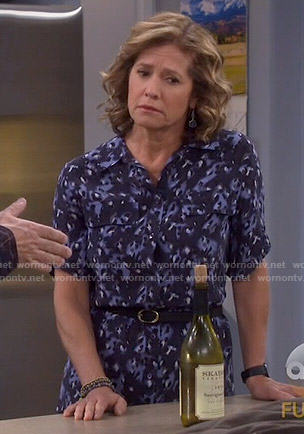 Vanessa's blue leopard print shirtdress on Last Man Standing