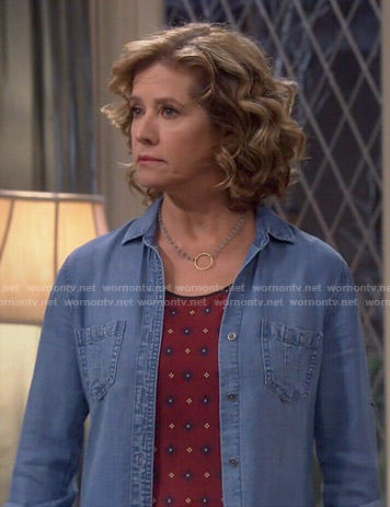 Vanessa's red printed top and chambray shirt on Last Man Standing
