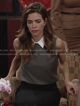 Victoria's grey sleeveless top with white collar on The Young and the Restless