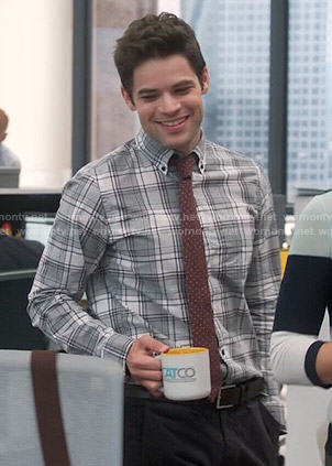 Winn's grey plaid shirt and red dotted tie on Supergirl
