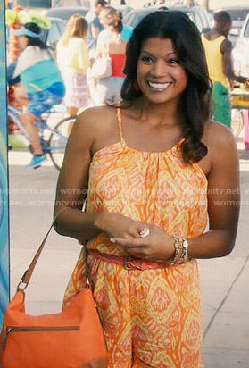Xiomara's orange printed romper on Jane the Virgin