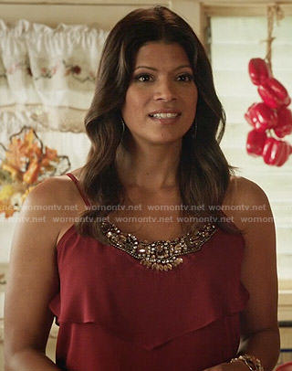 Xiomara's red embellished layered top on Jane the Virgin