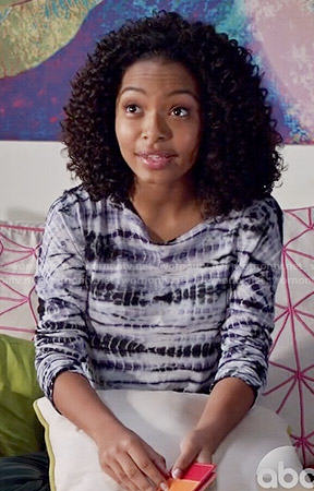 Zoey's tie dyed long sleeve top on Black-ish