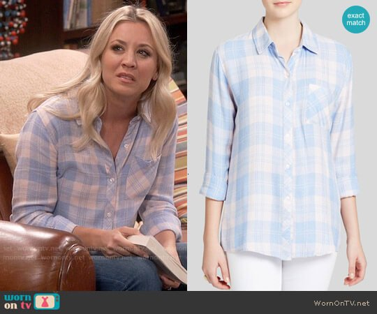 Rails Hunter Shirt in Light Pink / Blue worn by Penny Hofstadter (Kaley Cuoco) on The Big Bang Theory