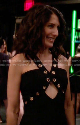 Abby's black cutout dress with grommet trim on Girlfriends Guide to Divorce