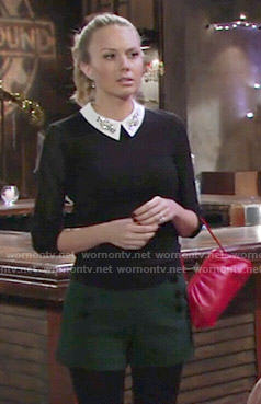 Abby's black sweater with embellished collar and green shorts on The Young and the Restless