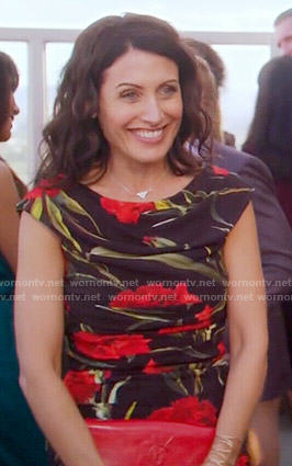 Abby's black and red floral dress on Girlfriends Guide to Divorce