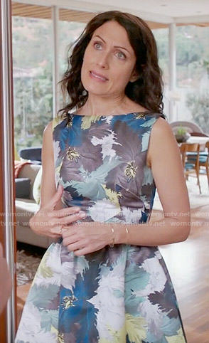 Abby's blue and yellow floral fit and flare dress on Girlfriends Guide to Divorce