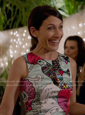 Abby's bird and flower illustration print dress on Girlfriends Guide to Divorce