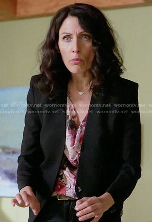Abby's floral cowl neck top, black blazer and studded pumps on Girlfriends Guide to Divorce