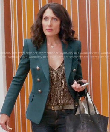 Abby's gold sequin top and green blazer on Girlfriends Guide to Divorce