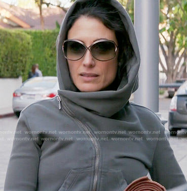 Abby's grey asymmetric hoodie and cross back top on Girlfriends Guide to Divorce