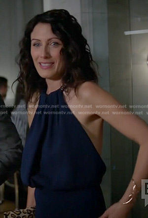 Abby's navy blue chain neck halter dress on Girlfriends Guide to Divorce