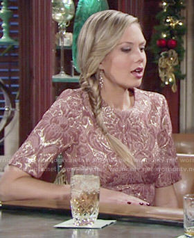 Abby's pink and gold brocade dress on The Young and the Restless