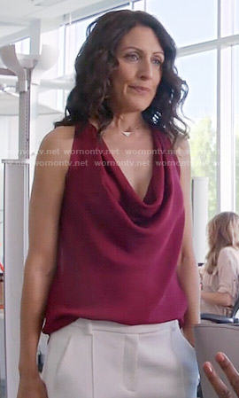 Abby's purple cowl neck top and white trousers on Girlfriends Guide to Divorce