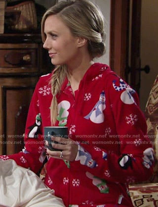 Abby's red Christmas snowman print onesie on The Young and the Restless
