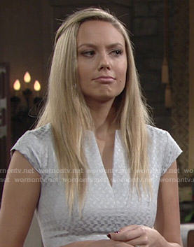 Abby's silver split-neck dress on The Young and the Restless