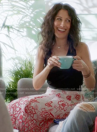 Abby's white and red floral embroidered skirt on Girlfriends Guide to Divorce