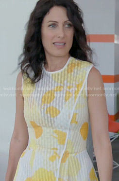 Abby's yellow floral wrap dress on Girlfriends Guide to Divorce