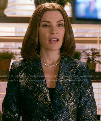 Alicia's black, silver and blue printed jacket on The Good Wife