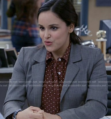 Amy's burgundy polka dot shirt on Brooklyn Nine-Nine
