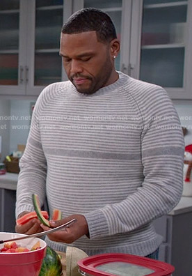 Andre's grey striped sweater on Black-ish