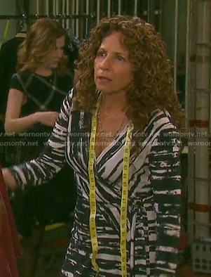 Anne's black and white painted stripe wrap dress on Days of our Lives