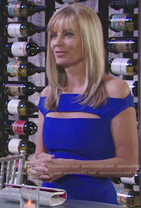 Ashley's blue off-shoulder gown with front cutout at Abby's wedding on The Young and the Restless