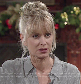 Ashley's grey leopard print shirt on The Young and the Restless