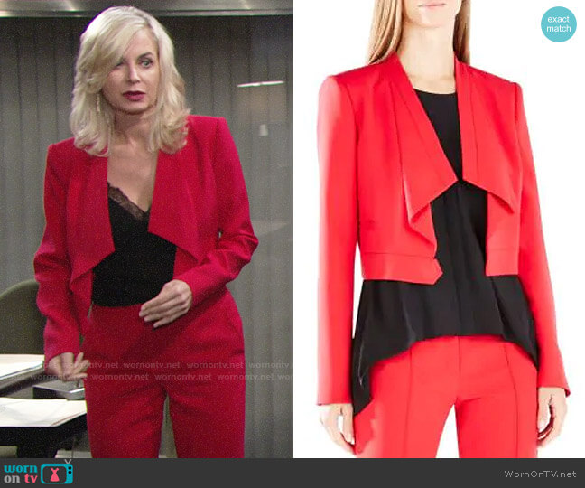 Bcbgmaxazria Franco Jacket in Red worn by Eileen Davidson on The Young & the Restless