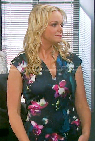 Belle's navy and pink floral print dress on Days of our Lives