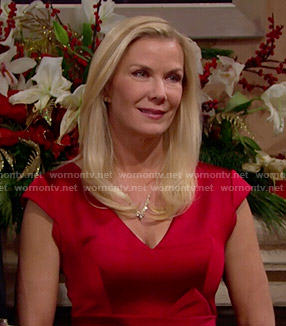 Brooke's red satin v-neck dress on The Bold and the Beautiful