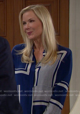 Brooke's blue bordered print blouse on The Bold and the Beautiful