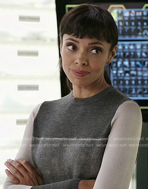 Camille's grey colorblock sweater on Bones