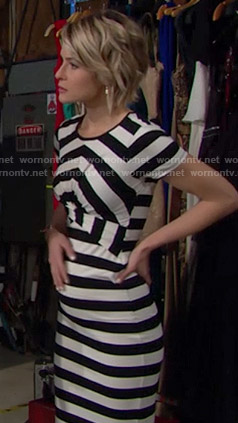 Caroline's black and white striped cross-front dress on The Bold and the Beautiful