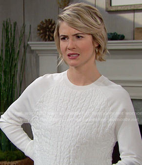 Caroline's white textured sweater on The Bold and the Beautiful
