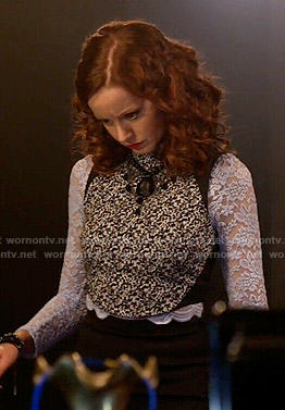 Cassandra's lace long sleeved top and black and white crop top on The Librarians