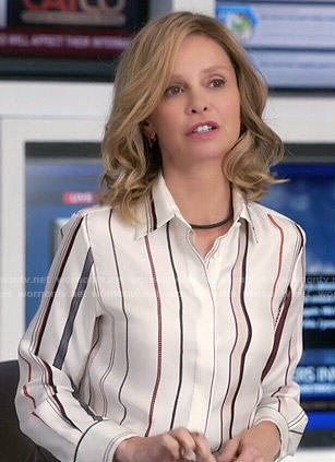 Cat's striped button front blouse on Supergirl
