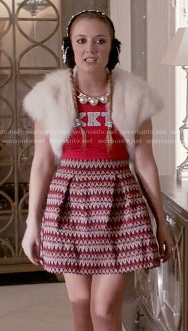 Chanel 3's red KKT top and chevron knit skirt on Scream Queens