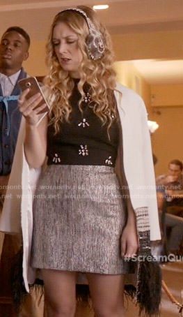 Chanel 3's white feather trim coat on Scream Queens