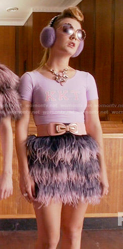 Chanel 3's purple KKT top and feather skirt on Scream Queens