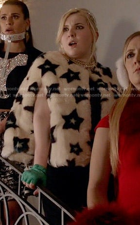 Chanel 5's star print fur jacket on Scream Queens
